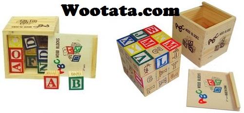 mainan edukatif anak balok kayu madera